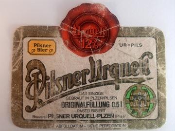 Pivo štítok pilsner Urquell