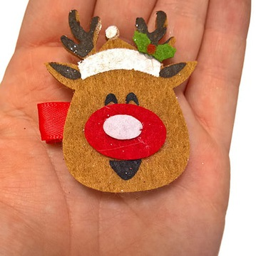 Spiaci Rudolf, ručne vyrobená spona na filc