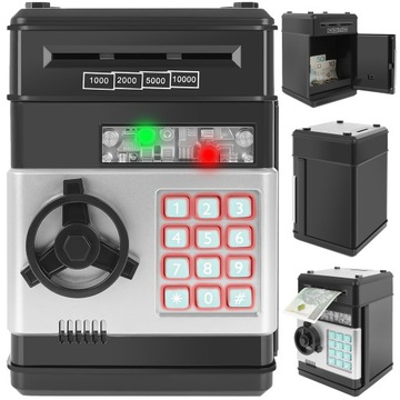 Bankomat Safe Piggy Bank na mince, bankovky + PIN