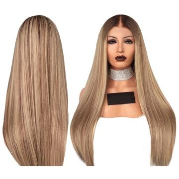 Dlhá parochňa ombre tmavé blond priame vlasy