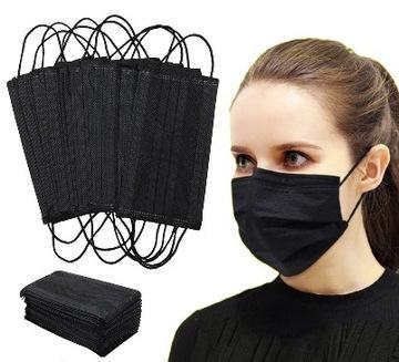 Jednorazové chirurgické čierne masky 50 ks.