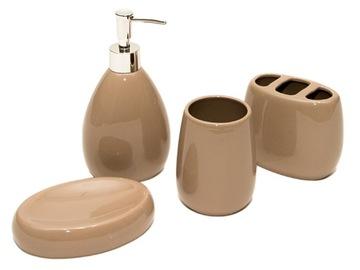 KPL. KERAMICKÁ KÚPEĽŇA 4 PRVKY béžová miska na mydlo