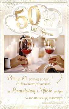 Karta k 50. výročiu svadby zlatý svadobný luxus RS10