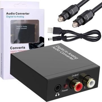 Toslink Coaxiálny optický konvertor na 2 CINCH RCA3