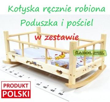 Drevená kolíska pre bábiky s posteľnou bielizňou