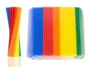 Plastové slamky THICK TWIST pretrepať FARBA 250 ks