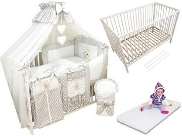 13-palcová detská postieľka, matrac, posteľná bielizeň, strieška