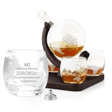 Kit pre whisky Karafka Globe 4 okuliare Engrin