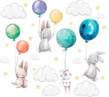 Samolepky na stenu Zajačiky balóniky pre deti 100