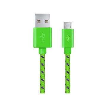 Micro USB 2.0 A-B Kábel M / M 2.0M Zelený Popol