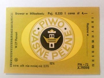 Pivovarový štítok Miłosław / Poznań Pivo jasne plné