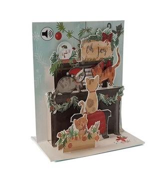 3D vianočné karta pre vianočné mačiatka