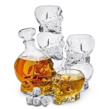 CARAFE whisky SET lebka 6x OKULIARE + kocky