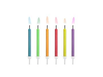 Narodeninové sviečky s farebnými plamienkami 6 ks