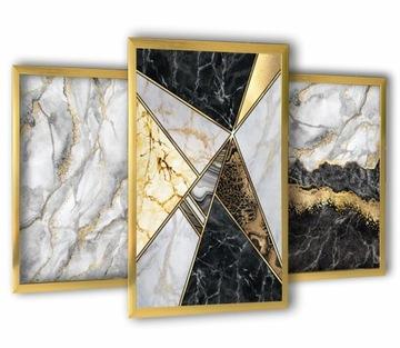 3 obrazy v zlatých rámoch sivý mramor 43x99