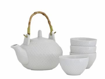 Porcelánová ČAJOVÁ kanvica na čaj + 4 šálky