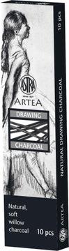Školské kreslenie drevené uhlie prírodné ASTRA 10 kusov