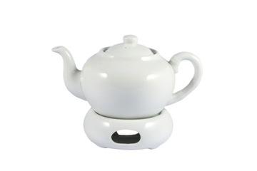 Biela kanvica na ohrievači s čajovým filtrom
