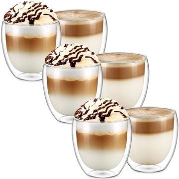 Termálne okuliare 250ml pre kávu Latte Set 6ks