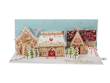 3D vianočné karta pre Gingerbread House na Vianoce