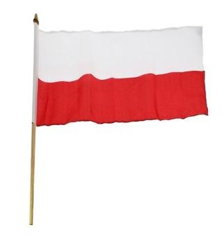 Vlajka Poľska s drevenou rukoväťou