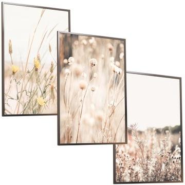 A3X3 Nastavený v ráme Image Boho suché trávy lúka
