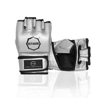 MMA OCTAGON Kovové strieborné rukavice Veľkosť L