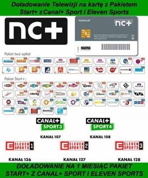 . Štart + karty s kanálom + šport a jedenásť športov 1m
