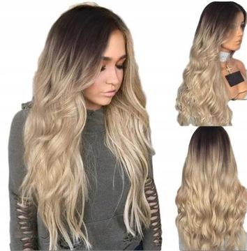 Parochňa ombre hnedé blond dlhé vlasy vlny 70cm