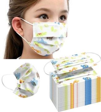 Jednorazové ochranné masky pre deti 50 ks