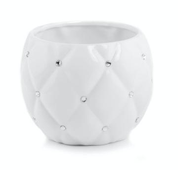 Kvetináč KERAMIKA biela kamienková guľa