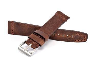Remienok na hodinky 22 mm, Vintage HNEDÝ | Koža pevná