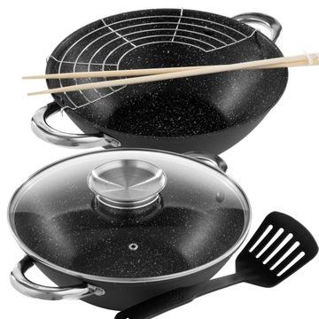 Liatina panvica wok 32cm + rošt + rameno