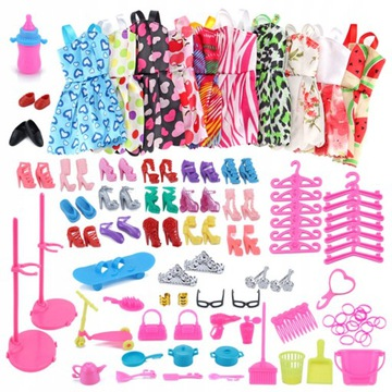 Veľký sada oblečenia a doplnkov bábiky 85 el.
