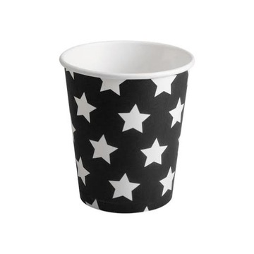 Čierne papierové poháre s hviezdičkami 8ks 180ml