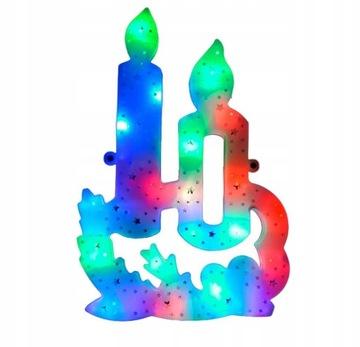 Vitrážový svietnik na RGB VÁNOČNÉ DEKORAČNÉ LED SVIETIDLÁ