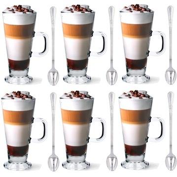 Sada 6 ks. Latte Coffee okuliare + lyžičky