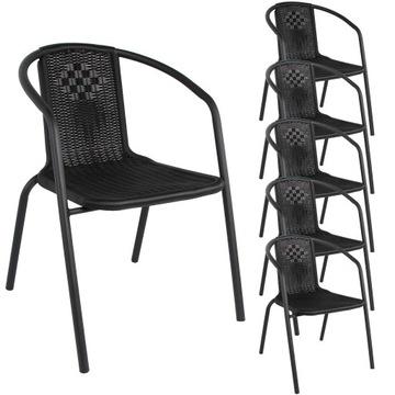 Záhradná stolička bistro, ČIERNA farba, sada 6 ks