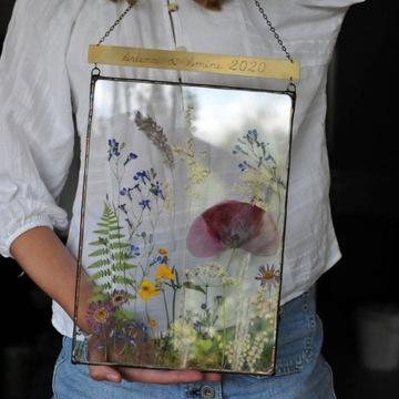 dekorácia A4, obrázok z prírodných kvetov, obrázok z prírody