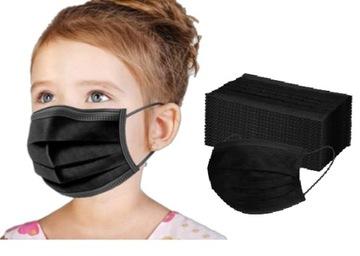 Jednorazové ochranné masky. Čierne deti 50 ks