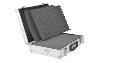 Priemerný hliníkový kufr naplnený penou