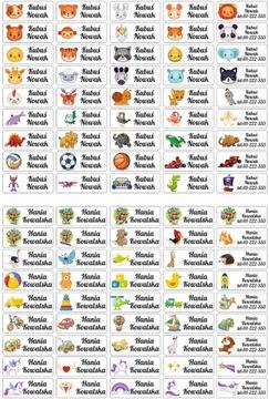 Nálepky s menami zoznamy mien školské potreby 45 ks