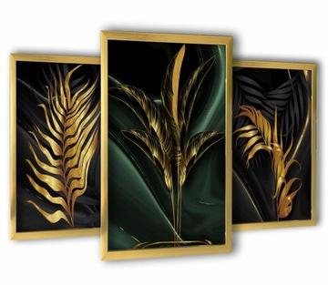 3 obrázky v zlatých rámoch 43 x 99 zlatých listov