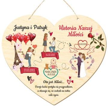 Stolové srdce. Dôležité dátumy Valentína Drevo