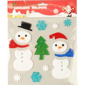 GEL STICKERS snehuliak okenné sklo vianočný stromček VIANOCE