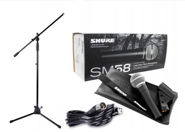 SHURE SM 58 LCE VOCAL MICROFÓNY + KABELY + TRIPOOD