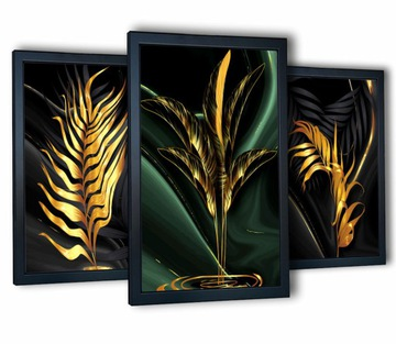 3 plagáty obrazy na stene zlaté listy 40x90