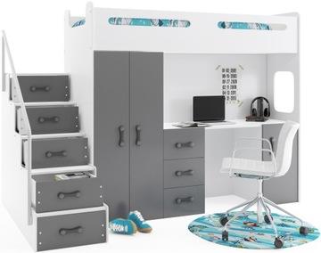 Poschodová posteľ + Šatníková skriňa Max 4 200x80 s písacím stolom