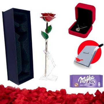 (5 v 1) večná červená ruža zabalená do 24K zlata