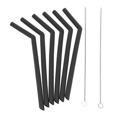 Opakovane použiteľné silikónové slamky 6ks sivé